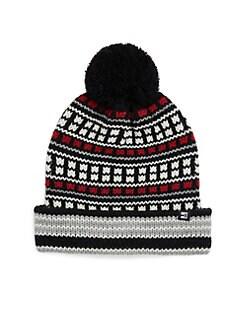 a4b14438b5a178 Block Headwear. Fairisle Cuff Pom-Pom Hat
