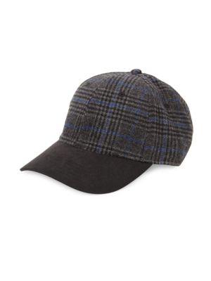 BLOCK HEADWEAR Plaid Faux Suede Hat in Black