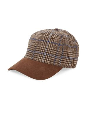 BLOCK HEADWEAR Plaid Faux Suede Hat in Brown