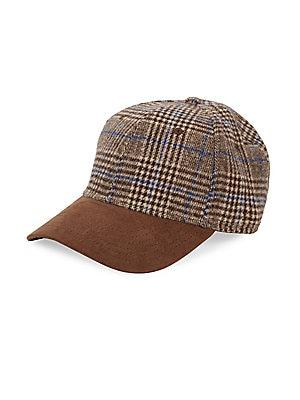 "Image of Cotton-blend plaid cap features eye-catching faux suede trim. Back adjustable strap Faux suede/cotton Spot clean Imported SIZE Brim width, about 3"" 7""H x 7.5""W x 5.25""H. Men Accessories - Fashion Accessories > Saks Fifth Avenue. Block Headwear. Color: Bro"