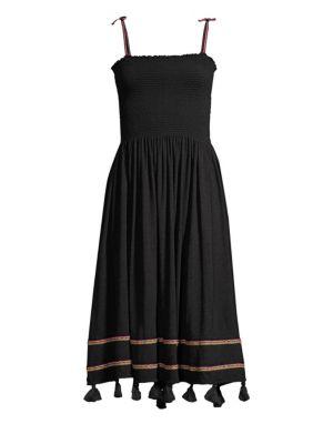 PITUSA Bella Smocked Dress Swim Cover-Up in Black