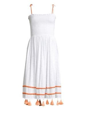 PITUSA Bella Smocked Midi Coverup Dress With Tassels in White