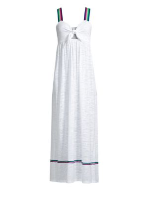 PITUSA Violette Tie-Front Coverup Maxi Dress in White