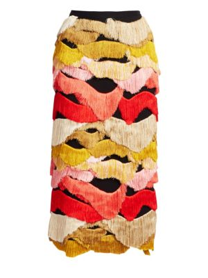 Rachel Comey Caposhi Multi-Tone Midi Fringe Skirt