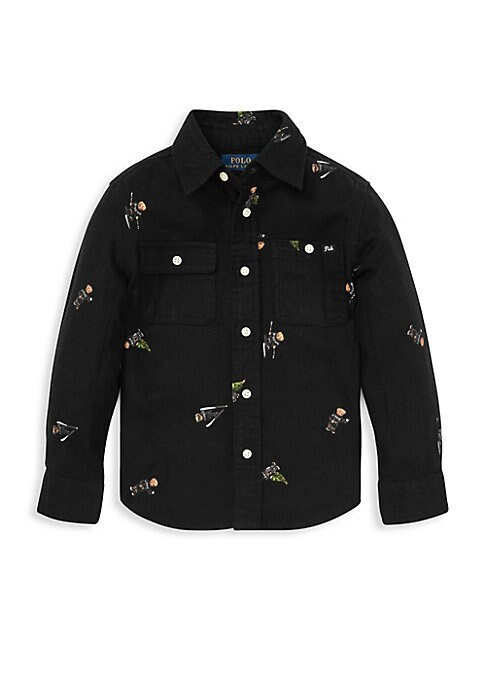 Image of Inspired by one of Polo men's shirts, this cotton piece gets a festive update with a print of Polo's cuddly mascot on the slopes and with his Christmas tree. Point collar. Long sleeves. Buttoned barrel cuffs. Button front. Chest buttoned patch pockets. Wo