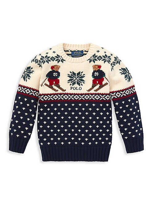 Image of This cotton and merino wool sweater's traditional snowflake pattern is all the more charming thanks to Polo's cuddly mascot. Crewneck. Long sleeves. Rib-knit cuffs and hem. Polo embroidered at the center front. Ralph Lauren's iconic Polo Bear knit in the
