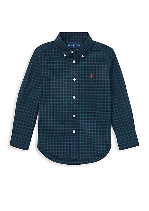 Image of Dressing him for playdates and parties is easy with this yarn-dyed cotton shirt-just add one of RL's classic chinos for a charming Polo look. Button-down point collar. Long sleeves with buttoned barrel cuffs. Buttoned placket. Signature embroidered pony a