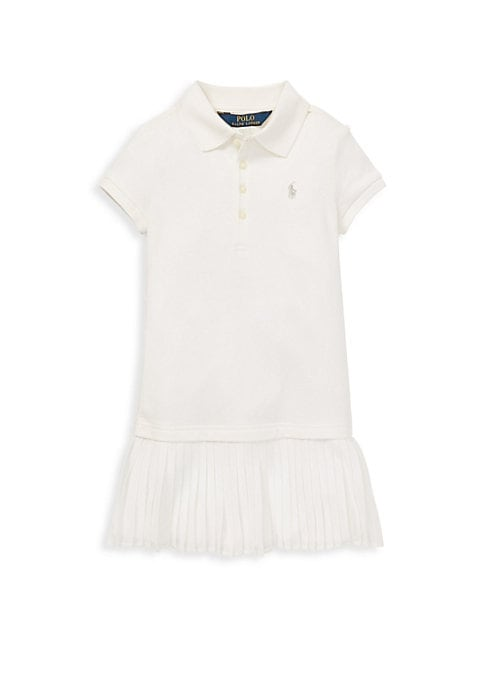 Image of This version of the quintessential Polo dress features a pretty pleated skirt and a signature embroidered pony. Point collar. Short sleeves. Four-button placket. Drop waist. Pleated skirt. Cotton/elastane. Machine wash. Imported.