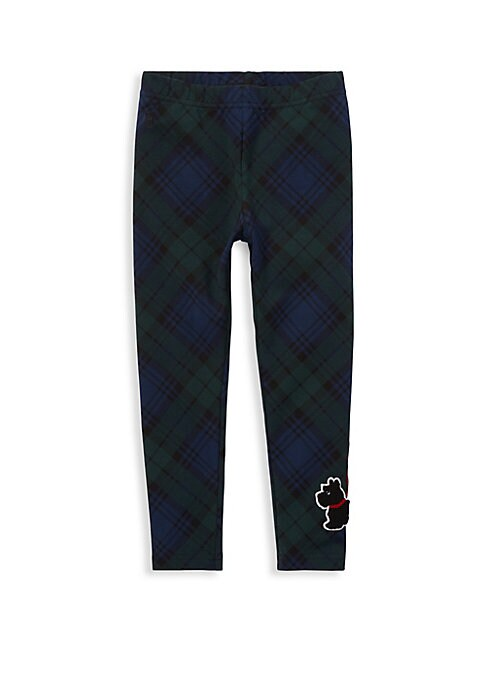 Image of A tartan plaid pattern and a signature embroidered pony define the pure Polo look of these comfy leggings. Elasticized waistband. Signature embroidered pony at the right hip. Cotton. Machine wash. Imported.