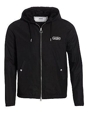 """Image of An essential topper, this sporty jacket boasts signature logo details in a classic zip up style. Attached hood with drawstring closure Long sleeves Zip front Snap waist welt pockets Polyester Dry clean Imported SIZE & FIT About 32"""" from shoulder to hem. M"""