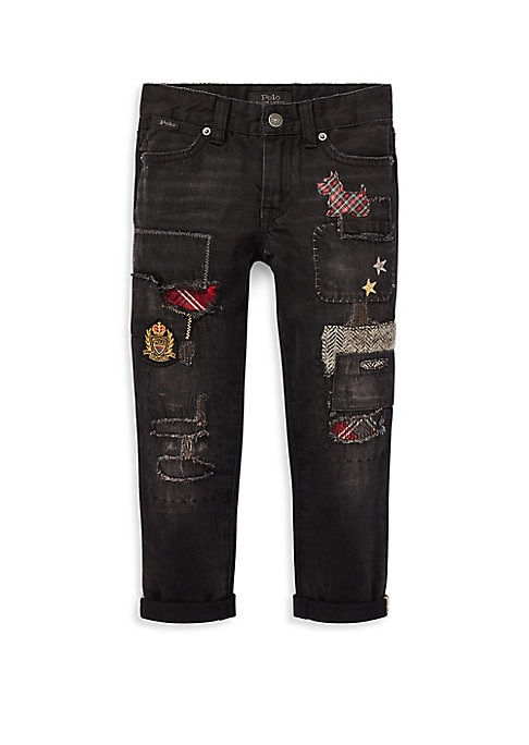 Image of Whimsical patches and distressing update this slim boyfriend jean, while adjustable interior tabs ensure she stays comfortable. Belt loops. Four-pocket styling with signature metal rivets. Zip fly with a signature buttoned closure. Polo label at the right