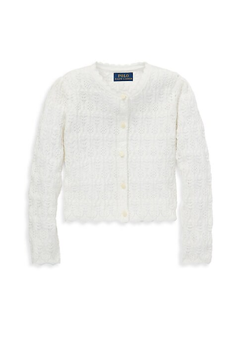 Image of With scalloped trim and delicate pointelle stitches, this cotton-wool-blend cardigan is a sweet way to top off her looks. Scalloped rounded neckline. Puffed long sleeves. Scalloped cuffs. Pointelle-knit throughout. Scalloped hem. Cotton/nylon/wool. Machin