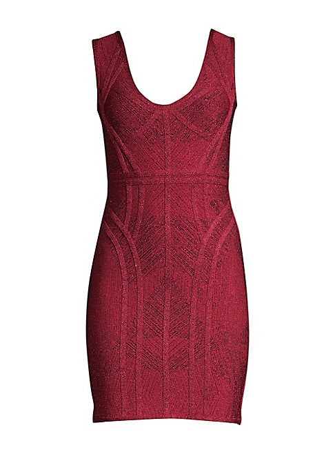 Image of Herve Leger is known for his signature bandage dresses that cling to the body and accentuate your figure. This design boasts allover zig-zag inserts in a stretch lurex and jacquard finish. Scoop neck. Sleeveless. Concealed back zip closure. Rayon/nylon/sp