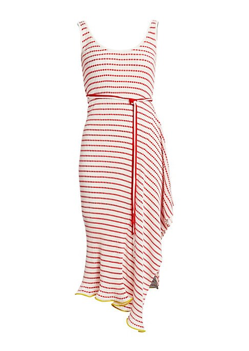Image of Cheery horizontal stripes lend a carefree spirit to this knit dress with accordion pleats. Languorous asymmetrical ruffles in the skirt contribute to the laid-back aesthetic, upping the design quotient of the dress. Scoopneck. Sleeveless. Pullover style.