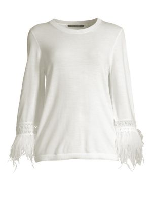 Toni Feather Trim Sweater by Kobi Halperin