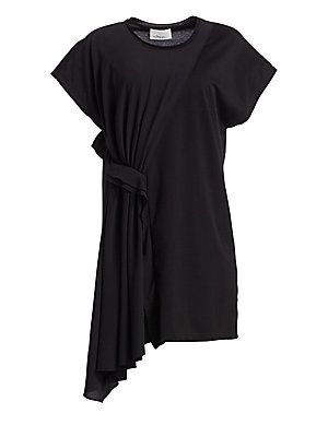 """Image of Adorned with ruching details and asymmetric drape, this simplistic shift dress is a playful statement piece. Roundneck Short sleeves Side ruching details Asymmetric ruffle hem Pullover style Cotton Dry clean Imported SIZE & FIT Shift silhouette About 37"""""""