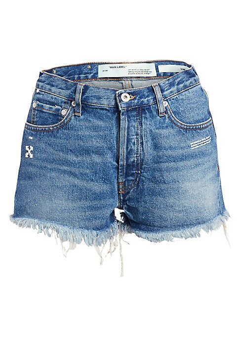 """Image of Your favorite jean shorts are trimmed with chic distressing and finished with a faded wash. Belt loops. Zip fly. Five-pocket style. Ripped hems. Cotton. Machine wash. Made in Italy. SIZE & FIT. Rise, about 12.5"""".Inseam, about 2"""".Leg opening, about 15"""".Mod"""
