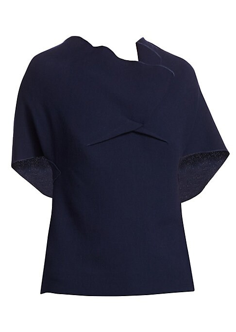 Image of An elegant V-back and goldtone zipper detail adds stylish definition to this on-trend drape top finished with kimono sleeves. Made from pure wool, pair this top with skirts or pants for a casual-chic look. Asymmetric wrapped neck. Short kimono sleeves. Ba