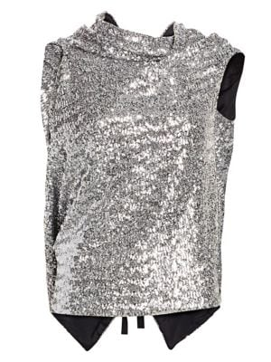 ROLAND MOURET Eugene Open-Back Draped Sequined Crepe Top in Silver