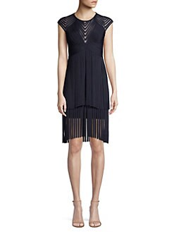 2ac147e540eb Herve Leger. Illusion Mesh Fringe Dress