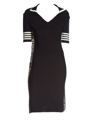 Short-Sleeve Jersey Tennis Dress in Black White Stripe