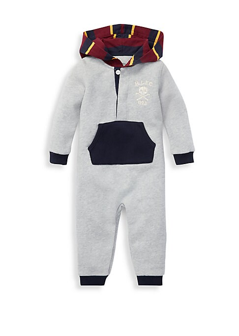 Baby Boys Hooded Fleece Pouch Coverall