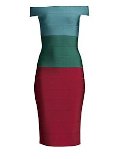 43f718f2e1e5 Product image. QUICK VIEW. Herve Leger. Off-The-Shoulder Colorblock Dress