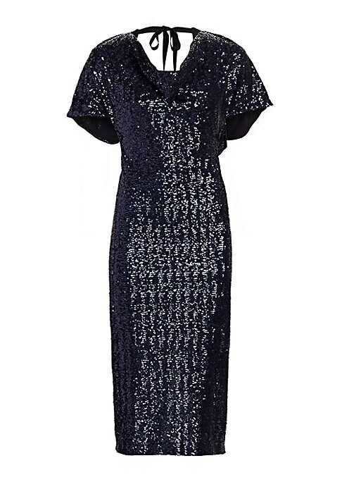 Image of Allover glittering sequins shape this figure-flattering statement dress featuring a deep cutout back. Designed with short kimono sleeves, its modern style finishes with a tie-ribbon closure for a dose of femininity. Cowlneck. Short kimono sleeves. Back ti