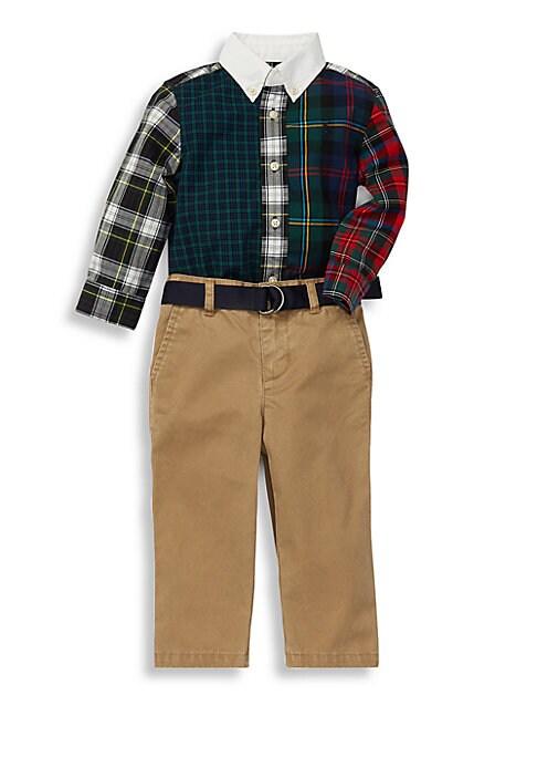 Baby Boys ThreePiece Patterned Cotton Shirt Pants  Belt Set