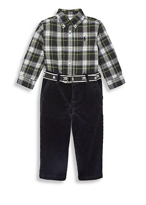 Baby Boys ThreePiece Plaid Shirt Pants  Belt Set