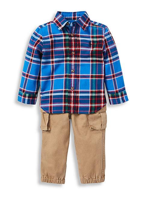 Baby Boys TwoPiece Cotton Plaid Shirt  Pants Set