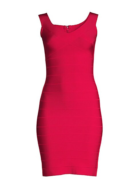 Image of Herve Leger is known for his signature bandage dresses that cling to the body and accentuate your figure. This chic design boasts a soft V-neckline in a smooth stretch finish.V-neck. Sleeveless. Concealed back zip closure. Rayon/nylon/spandex. Dry clean.