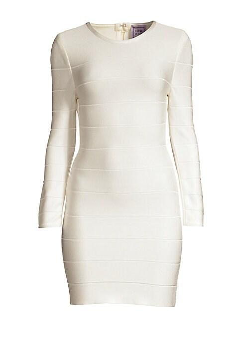 Image of A signature Herve Leger design, this figure-hugging bandage sheath still looks fresh today. Style yours with vibrant accessories and strappy sandals. Roundneck. Long sleeves. Back zip closure. Rayon/nylon/spandex. Dry clean. Imported. SIZE & FIT. About 29