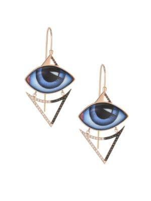 LITO 14K Rose Gold & Diamond Blue Eyes Earrings