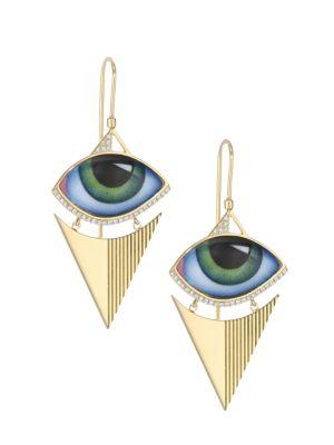 LITO 14K Yellow Gold & Diamond Green Eyes Earrings