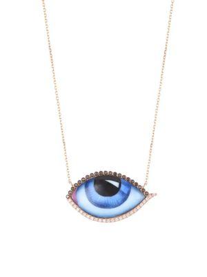 LITO 14K Rose Gold & Diamonds Eye Necklace