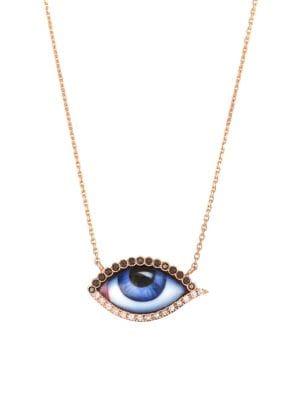 LITO 14K Rose Gold & Diamond Blue Eye Pendant Necklace