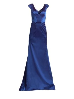Zac Posen V-Neck Stretch Satin A-Line Gown
