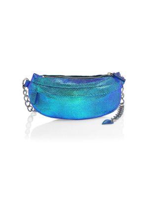 AVEC LA TROUPE Metallic Leather Chain Strap Fanny Pack in Blue