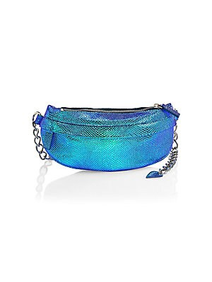 """Image of Iridescent snakeskin embossed calfskin fanny pack enhanced with chain strap. Top zip closure Silvertone hardware Outside zip pocket Lined: Cotton Leather Spot clean Made in Italy SIZE Chain strap, 5"""" to 18"""" drop 10.5""""W x 4.75""""H. Handbags - Collection Hand"""