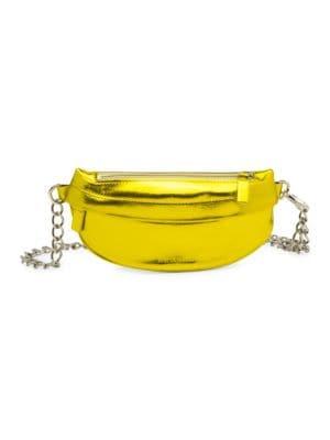 AVEC LA TROUPE Metallic Chain Strap Fanny Pack in Gold