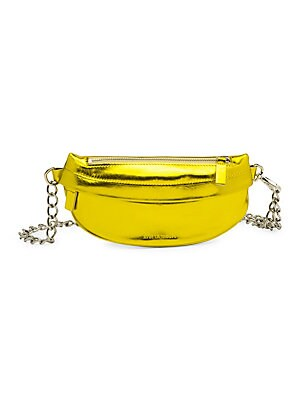 """Image of High-shine metallic kidskin leather fanny pack enhanced with chain strap. Top zip closure Silvertone hardware Outside zip pocket Lined: Cotton Leather Spot clean Made in Italy SIZE Chain strap, 5"""" to 18"""" drop 10.5""""W x 4.75""""H. Handbags - Collection Handbag"""