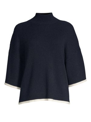 Tipped Mockneck Sweater by Frame