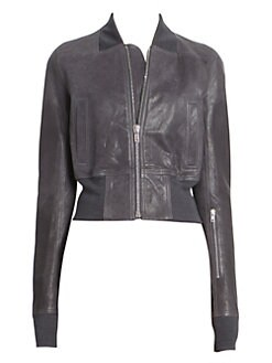 6d14005bff8 Rick Owens. Grainy Leather Ribbed Waist Cropped Bomber