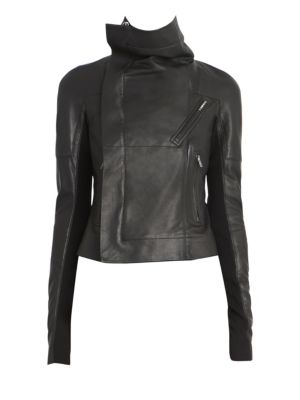 Sisy Leather & Wool Biker Jacket by Rick Owens