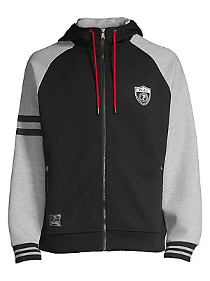 "Image of This hoodie merges signature graphics and smooth double-knit fabric for modern Polo style. Attached drawstring hood Long raglan sleeves Ribbed cuffs and hem Exposed zip front Waist zip pockets ""Polo"" rubber-printed at the hood ""Polo"" shield at the left ch"