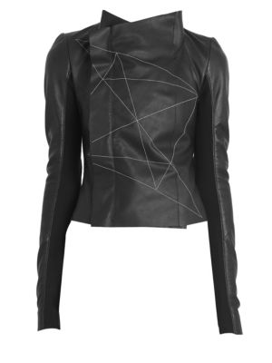 Stitched Leather Biker Jacket by Rick Owens