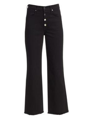 Justine High Waist Cutoff Wide Leg Jeans in Black