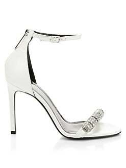 1e33d640ee7 QUICK VIEW. CALVIN KLEIN 205W39NYC. Asymmetric Crystal Metallic Leather  Slingback Sandals