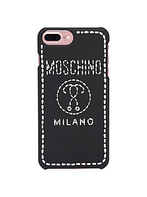 Image of Striking logo graphics adorn iPhone 8 plus phone case. Polycarbonate Imported SIZE Compatible with iPhone 8 plus. Handbags - Contemporary Handbags > Saks Fifth Avenue. Moschino. Color: Black Multi.